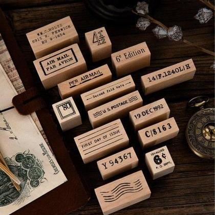 Post Office Series Wooden Stamp Set..