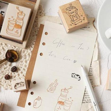 Coffee Shop Wooden Stamp Set Collec..