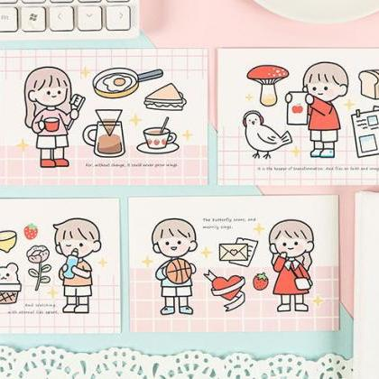 Cute Hand-painted Couple Postcard C..
