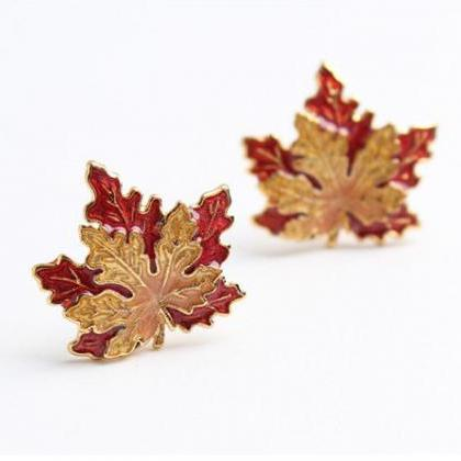 Maple Leaf Stud Earrings | Handmade..