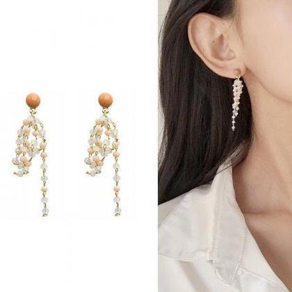 Earrings with crystal beads | Clear..