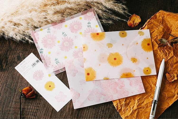 Twilight Flower Translucent Envelopes Set - 3pc | Transparent Envelope | Gift Envelope | Greeting Card Envelope | Tracing Paper Envelope |
