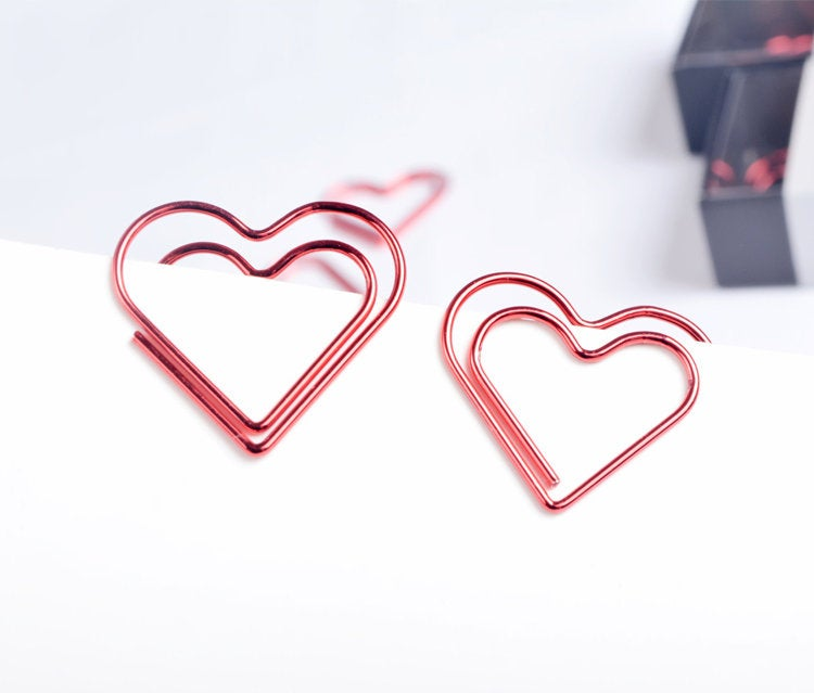 Romantic Red Heart Shape Paper clips | Romantic Red Paperclip | Funny Paper Clip | Japan Paper Clip | Unique Paper Clip| Shape Bookmark clip