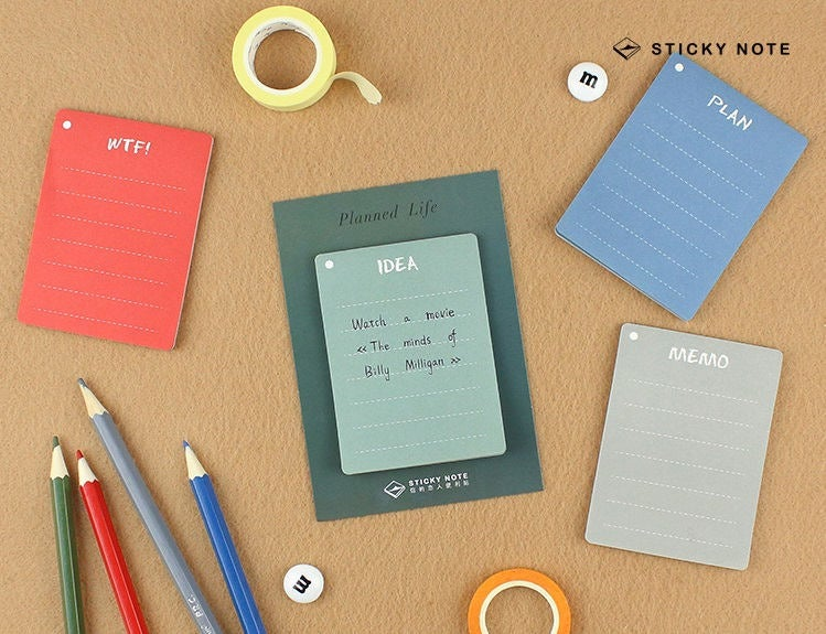 Four Colors Sticky Notes Set | Idea Memo Note | WTF Sticky Notes Pack | Red Memo Note Pad | Blue Memo Green | Colorful Stickies Memo Set