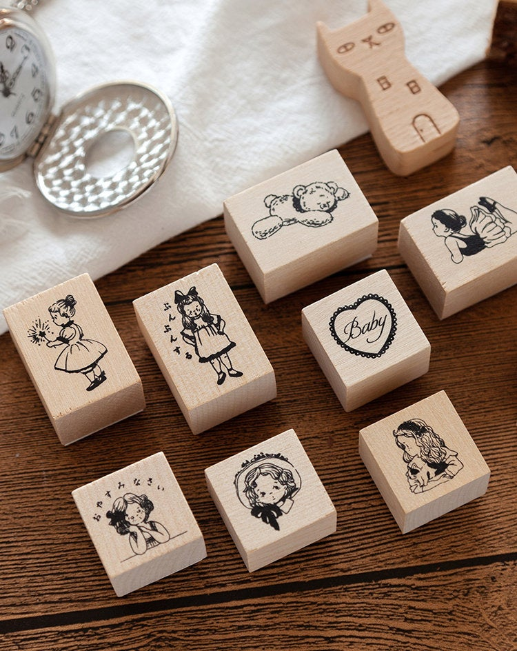 Anne Log Series Stamp Collection | Young Girl Diary Stamp Icon | Wooden Stamp Rubber Seal | Bed Time Story Stamp | Bear Stamp Teddy Stamp |