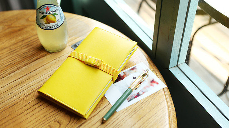 Refillable Notebook with Pen Holder - Yellow / Pink | Leather Travel Notebook | Refillable Diary | Notebook Cover | Planner Sketchbook