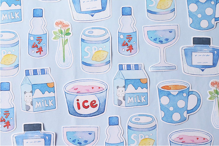 Blue Series Drinks Shaped Sticky Notes | Japan Drink Cans Notes | Hand Drawing Notes | Soda memo pad | Milk Sticky Memo Notes Japanese Drink