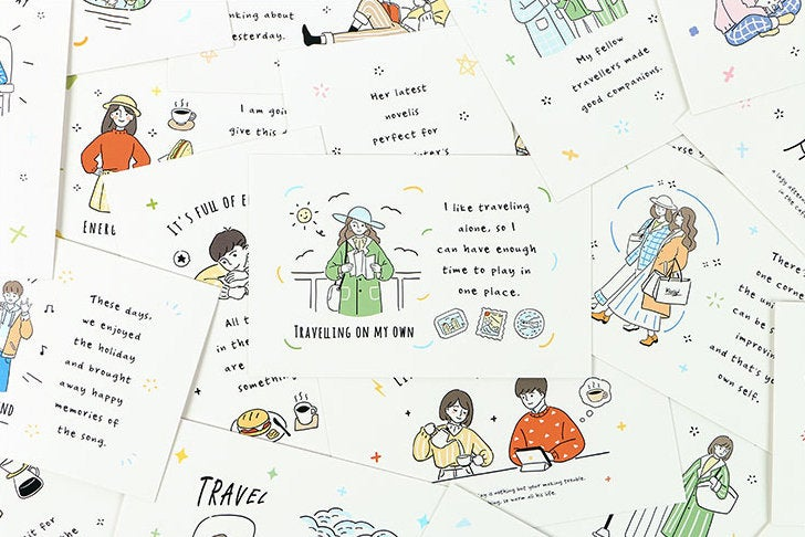Meaning of Travel Postcard Collection (30pc) | Confidante Friendship Post Card Set | Hand Drawing Greeting Card | Traveler Friend PostCard |