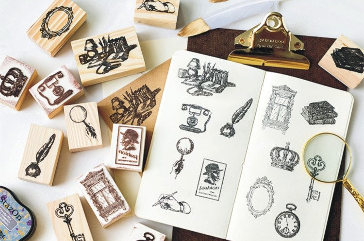 Vintage Items Stamp Collection | Vintage Icon Stamp | Wooden Stamp Rubber Seal | Hand Magnifier Window Mirror Key Watch Crown Stamp