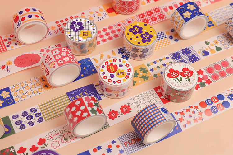Lisa's Floral Skirt Washi Tape Collection | Japanese Flower Masking Tape | Colorful Stories Washi Tapes Set | Boxed Masking Tape Kids Symbol