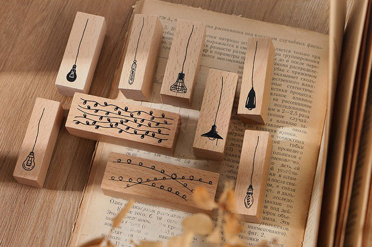 Hanging Light Bulb Stamp Collection Set | Chandelier Stamp Icon | Light Wooden Stamp Rubber Seal | Bulb Design Stamp | LED Light Bulb Stamp