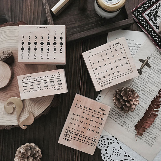 Moon Phase Calendar Stamp Collection Set | Practical Schedule Stamp | Wooden Stamp Rubber Seal | DIY handbook diary stationery Symbol Stamp