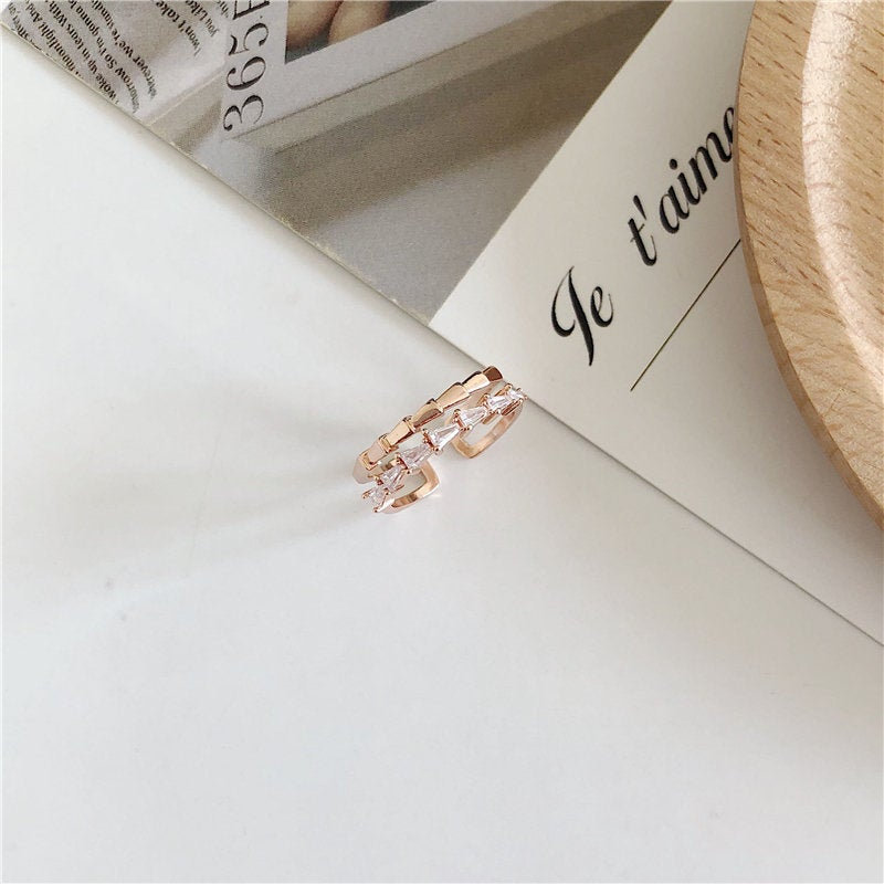 Cute Stackable Ring | Korean Style Adjustable Ring | Rose Gold Open Ring | Simple Jewelry | Imitation Jewelry | CZ Ring | Everyday Jewelry