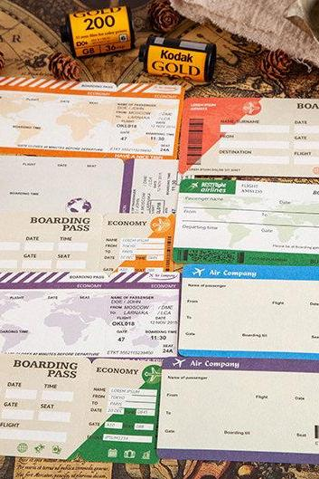 Boarding Pass Memo Pad Collection | Flight Ticket Memo Notepad | Airline Notes Pack | Tearable Notes | Airplane Memo Note Modern Memo Design