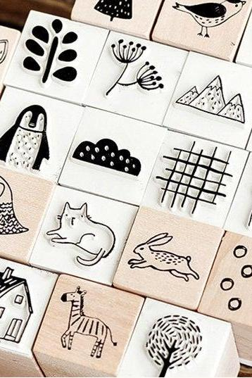 Cartoon Forest Animal Stamp Collection | Wild Animals Stamp Icon | Mushroom Wooden Stamp Rubber Seal | Fox Stamp Sun Stamp | Mountain Stamp