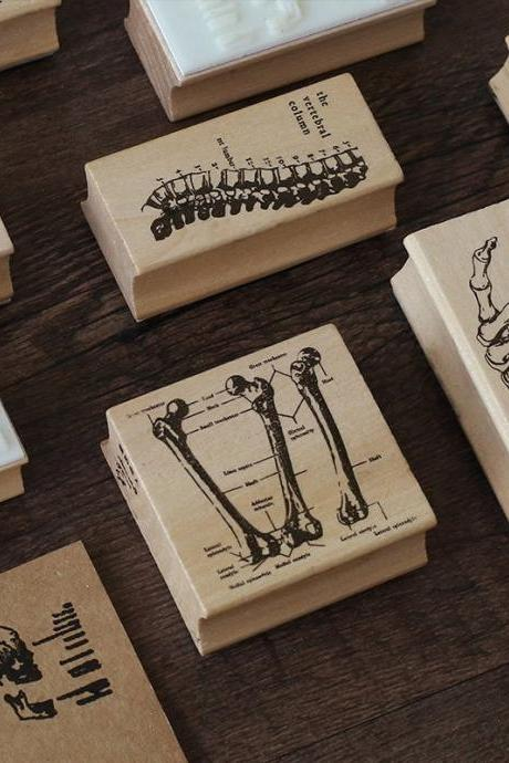 Bones Wooden Stamp Set | Halloween Stamp | Skull Stamp | Science Fiction Stamp | Cool Stamp Scrapbook | Dark Stamp Planner