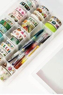 Washi Tape Storage Box | Masking Tapes Divider | Washi MT Compartments Holder | Washi Masking Tape Plastic Box |Washi Tapes arrangement Case