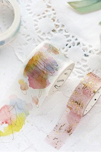 Gold Water Color Washi Tape Collection | Art Washi Masking Tape | Modern Design Masking Washi Tape Minimalism | Painting Masking Tapes Draw