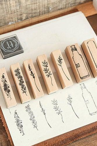 Herbarium Specimen Stamp Collection Set | Flowers Stamp Icon | Herbs Wooden Stamp Rubber Seal | Vintage Nature Stamp | Retro Flower Stamps