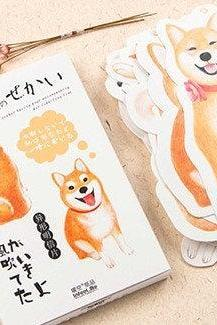 Shiba Dog Postcards Collection (30pc) | Puppy Post Cards Set | Hand Drawing Dogs Post cards Box | Cute Dog Postcards | Dog Shaped Cards Set