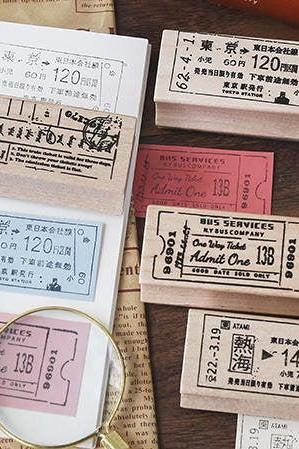Vintage Travel Ticket Wooden Stamp Set | Old Transport Ticket Stamp | Tokyo Tram Stamp | New York Train Stamp | Cambridge Stamp Scrapbook |