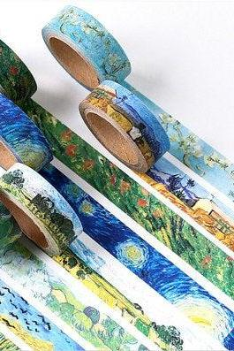 Van Gogh Washi Tape Collection | Starry Wheat Field Art Washi Masking Tapes | Painting Masking Tapes Draw | Vintage Tape | Art Washi Tape |