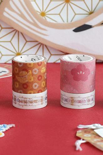 Good Fortune Washi Tapes Set of 2 | Hand drawing pattern masking tape | Luck Washi Tapes Set | Boxed Masking Tapes | Washi MT Japanese