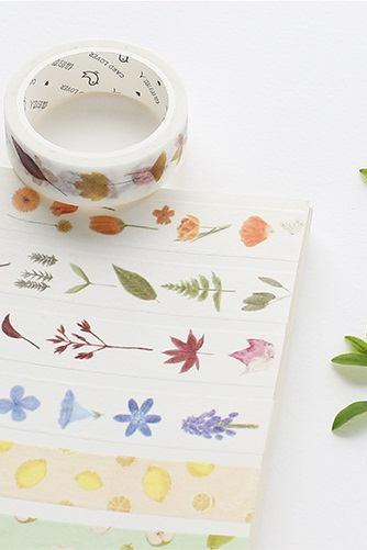 Four Seasons Washi Tape | Flowers Masking Tape | Seasonal Plants Japan Washi MT | Spring Summer Washi Tape Set | Winter Autumn Masking Tapes