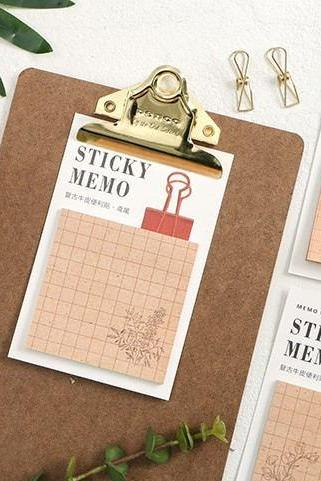 Kraft Paper Sticky Notes Set | Sack Kraftpaper Memo Notes | Brown Kraft Paper Sticky Notes Pack | Khaki Sack Kraft Paper Memo Note Pad