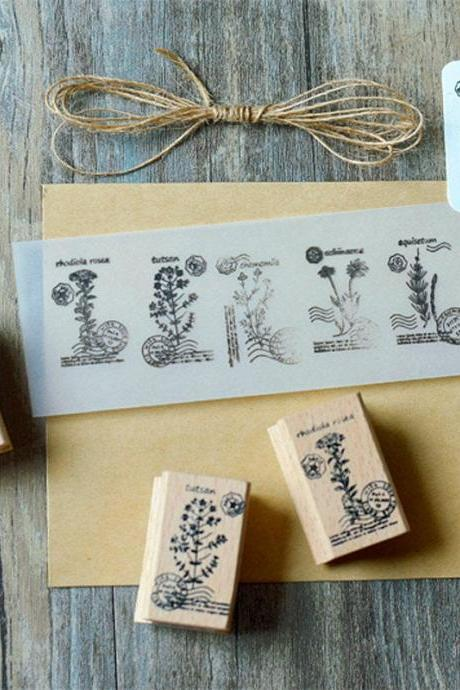 Flowers Stamp Collection | Green Plants Stamp Icon | Herbs Wooden Stamp Rubber Seal | Vintage Nature Stamp | Retro Flower Plant Stamps Set