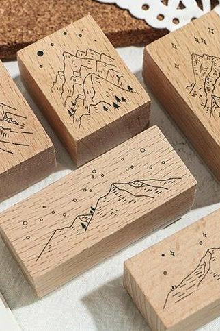 Stacking Mountain Wooden Stamp Collection (10 pc)| Forest stamp chop | Wood Rubber Seal | Scrapbook stamp | Notebook Stamp | Stylish stamp