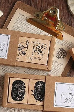 Forest Herbs Stamp Collection Set | Flowers Stamp Icon | Herbs Wooden Stamp Rubber Seal | Vintage Nature Stamp | Retro Flower Stamps Set
