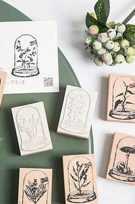 Wishing Bottle Plants Stamp Collection | Wild Flower Stamp Icon | Herbs Wooden Stamp Rubber Seal | Mushroom Stamp Herb | Plants Stamp Bottle