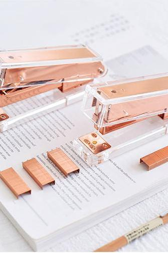 Rose Gold Stapler with Staples |Transparent Brass Stapler|Rose Gold Staples Refill|Clear Acrylic Stapler|Modern Design Office Desk Accessory