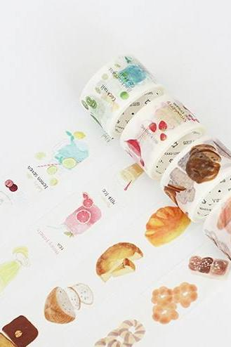 Foodie Washi Tapes Set XL 30mm | Hand drawing pattern masking tape | Summer Washi Tapes Set | Boxed Masking Tapes | Washi MT Japanese