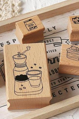 Coffee Shop Wooden Stamp Set Collection (13 pc)| Cafe stamp chop | Wood Rubber Seal | Scrapbook stamp | Notebook Stamp | Stylish stamp