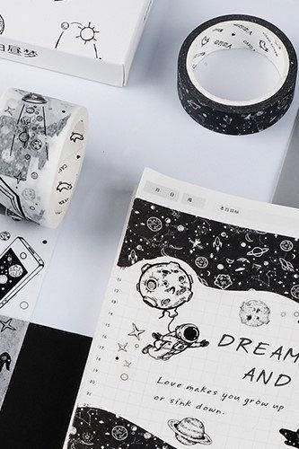 Black & White Masking Tape Set | Art Washi Masking Tape Water Color | Paint Masking Tape Drawing | Space Washi Tape Ink | Planet Tape Galaxy