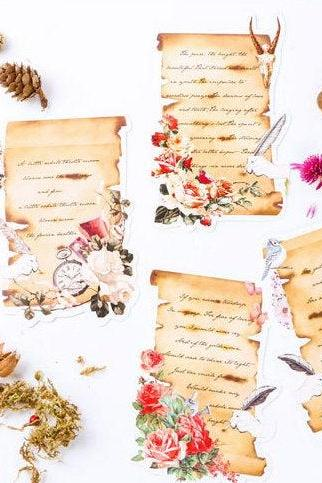 Love Sonnet Postcard Collection (30pc) | Vintage Floral Post Card Set | Hand Drawing Greeting Card | Poem Postcard | Letter Shaped Card Memo