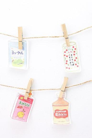 Drinks Shaped Sticky Notes | Japan Drink Cans Notes | Hand Drawing Notes | Thank you memo pad | Small Sticky Memo Notes Japanese Drinks