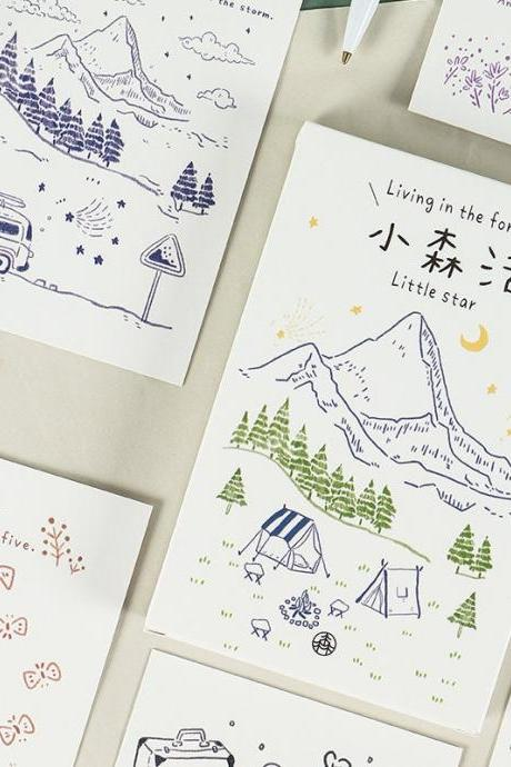 Living In The Forest Postcards Collection (30pc) | Mountain Post Card Set | Hand Drawing Garden Post cards Box | Windmill Star Postcards |