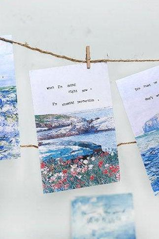 Poems in the Wind Postcards Collection (30pc) | Poems Post Card Set | Hand Drawing Garden Post cards Box | Blue Sea View Natural Postcards |