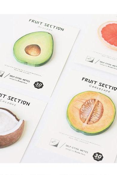 Realistic Fruit Sticky Notes | Fruit Memo Notes | Summer Fruit Sticky Notes |Hand drawing Fruit Memo Pad |Fresh Fruit Notepad Adhesive paper