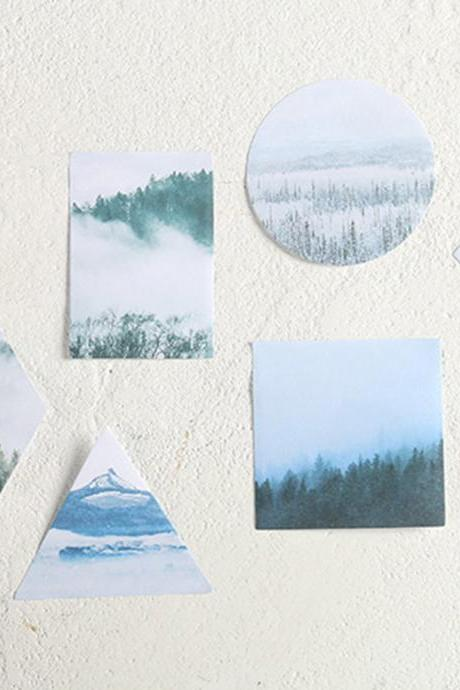 Forest Landscape Sticky Notes Memo | Snow Hill Memo Pad | Mountain Memo Set | Triangle Sticky Memo Note | Creative Memo green tree Stickies