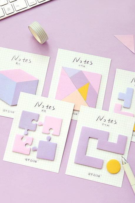 Geometry Game Sticky Notes Collection | Geometric Shape Memo Stickies Design | Grid Memo Sticky Notes Pack | 3D Memo Pad Sticky Notes Set