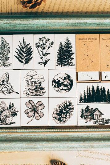 Natural Forest Stamp Collection | Wild Animals Stamp Icon | Herbs Wooden Stamp Rubber Seal | Mountain Stamp House | Rabbit Stamp Squirrel