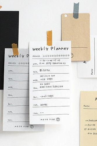 Weekly Planner Message Notepad - Checklist Memo Note | Memo Pad Set | Daily Check Note Pack Simple Memo | Graffiti Diary Pattern Notepad