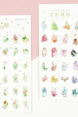 Crystal Blossom Stickers Set | Gold Embossing Flowers Sticker | Perfume Stickers | Golden Sticker | Gold Crystal Stickers | Gorgeous Sticker