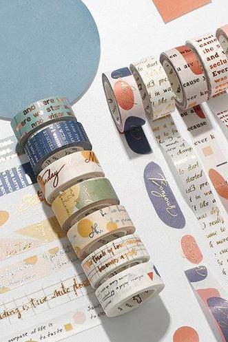 Bronzing English Text Washi Tape Collection | Art Washi Masking Tape | Modern Design Masking Washi Tape Minimalism | Painting Masking Tapes