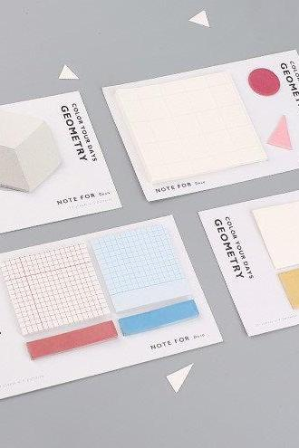 Geometry Sticky Notes Collection | Geometric Shape Memo Stickies Design | Grid Memo Sticky Notes Pack | 3D Memo Pad Sticky Notes Set