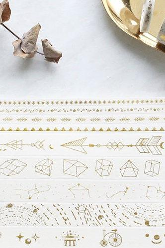 Zodiac Signs Gold Washi Tape Collection | Star Sign Washi Masking Tapes | Galaxy Washi Tape | Astrology Masking Tape Set | Linear Washi Tape